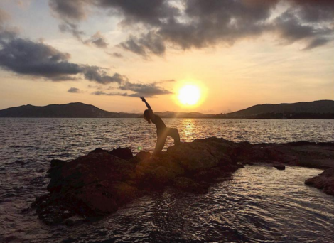 A much-needed self-prescribed yin yoga session in Ibiza after the wedding... during this picturesque sunset!